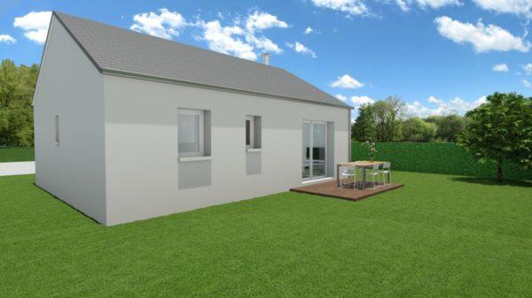 Modèle de Maison AGATE, 3 pièces de 56m² - Perspective Arrière en Ardoise