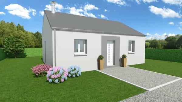 Modèle de Maison AGATE, 3 pièces de 56m² - Perspective Avant en Ardoise