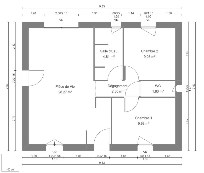 Modèle de Maison AGATE, 3 pièces de 56m² - Plan du RdC