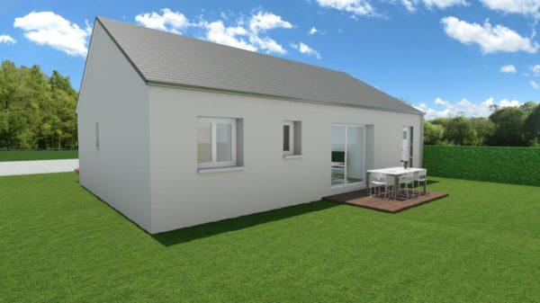 Modèle de Maison AMÉTHYSTE, 3 pièces de 58m² - Perspective Arrière en Ardoise