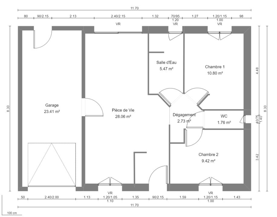 Modèle de Maison AMÉTHYSTE, 3 pièces de 58m² - Plan du RdC