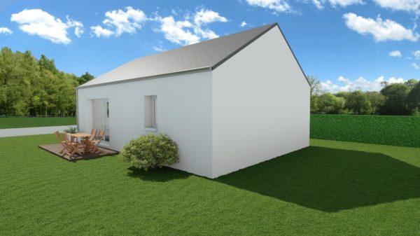 Modèle de Maison AMBRE, 3 pièces de 54m² - Perspective Arrière en Ardoise