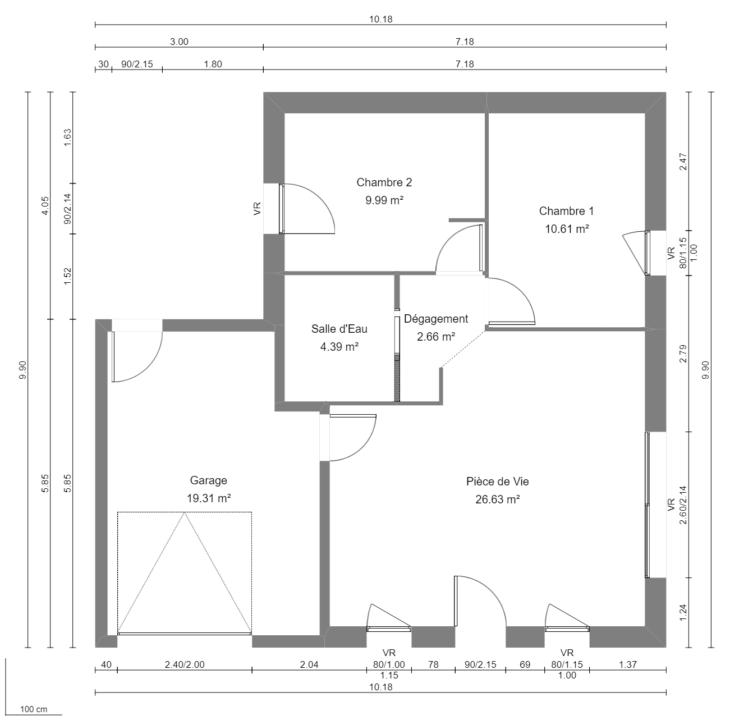 Modèle de Maison AMBRE, 3 pièces de 54m² - Plan du RdC
