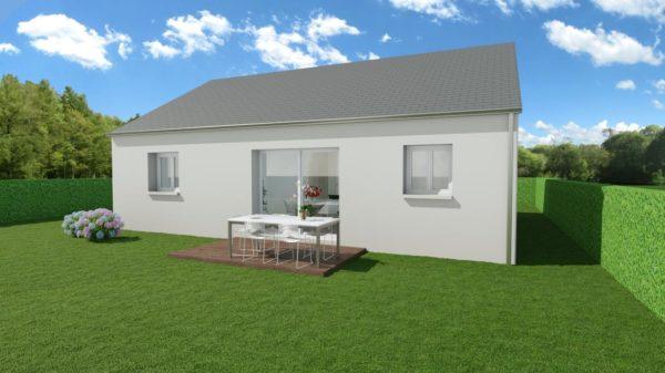 Modèle de Maison AURALITE, 3 pièces de 64m² - Perspective Arrière en Ardoise