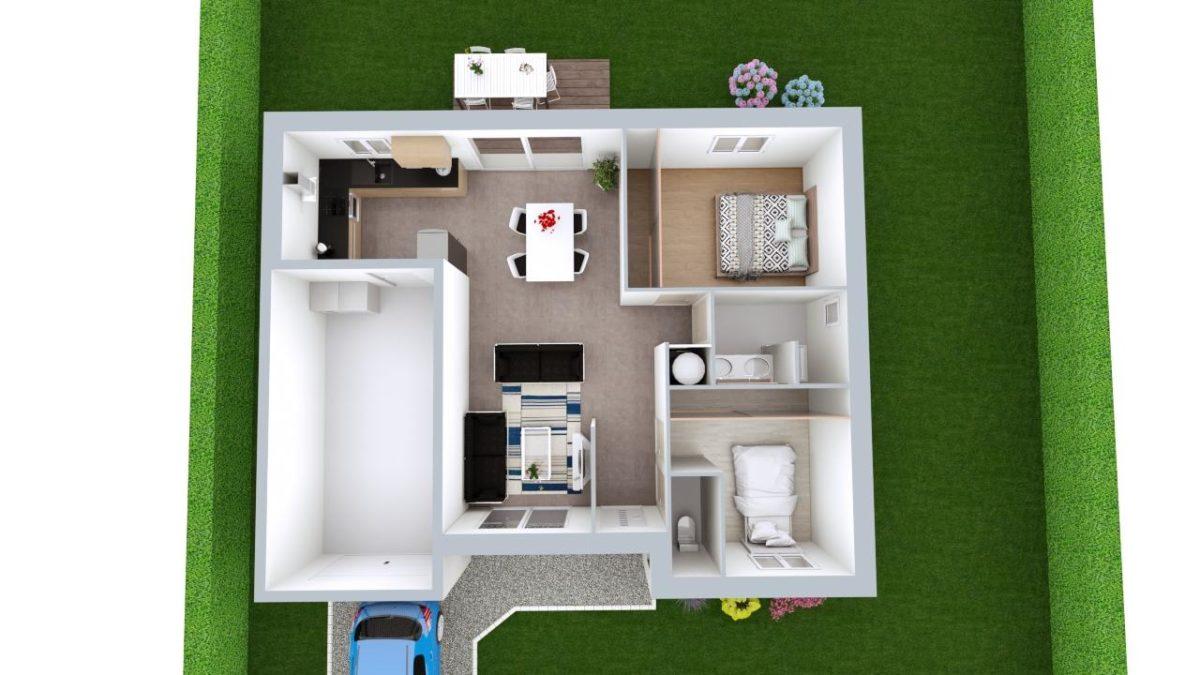 Modèle de Maison AURALITE, 3 pièces de 64m² - Proposition d'Aménagement