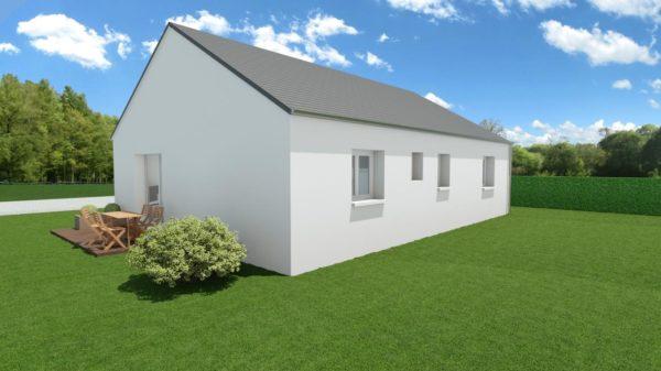 Modèle de Maison AZURITE, 3 pièces de 74m² - Perspective Arrière en Ardoise