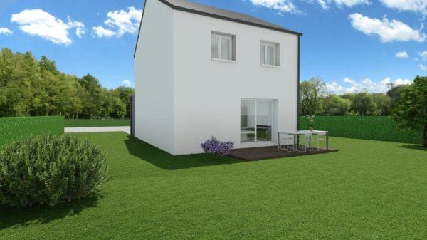 Modèle de Maison BÉRYL, 4 pièces de 77m² - Perspective Arrière en Ardoise