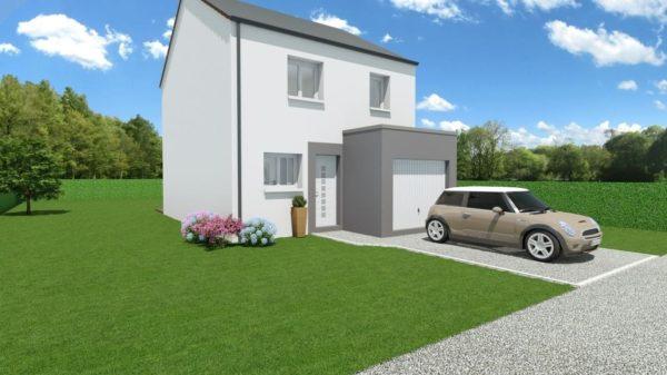 Modèle de Maison BÉRYL, 4 pièces de 77m² - Perspective Avant en Ardoise