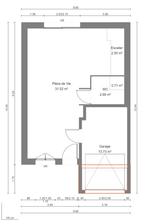 Modèle de Maison BÉRYL, 4 pièces de 77m² - Plan du RdC