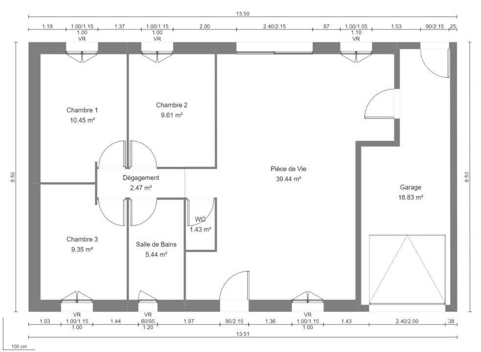 Modèle de Maison CORNALINE, 4 pièces de 78m² - Plan du RdC