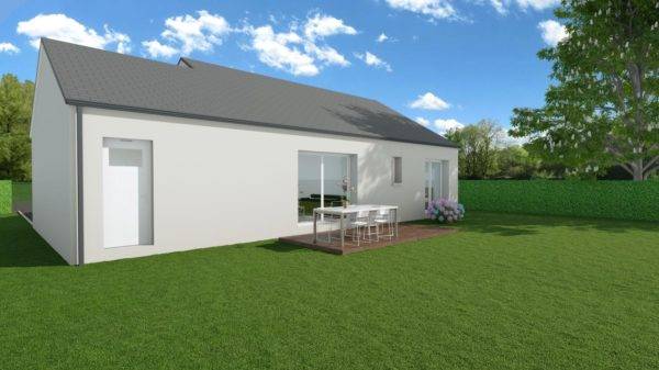 Modèle de Maison CRISTAL, 4 pièces de 79m² - Perspective Arrière en Ardoise