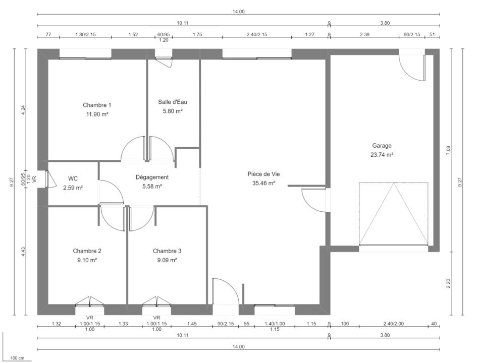 Modèle de Maison CRISTAL, 4 pièces de 79m² - Plan du RdC