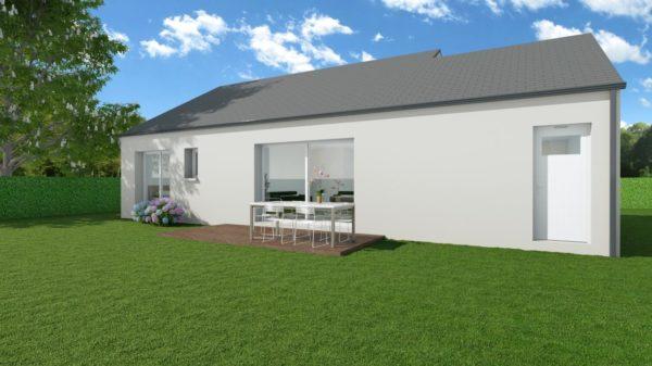 Modèle de Maison DIOPTASE, 4 pièces de 80m² - Perspective Arrière en Ardoise