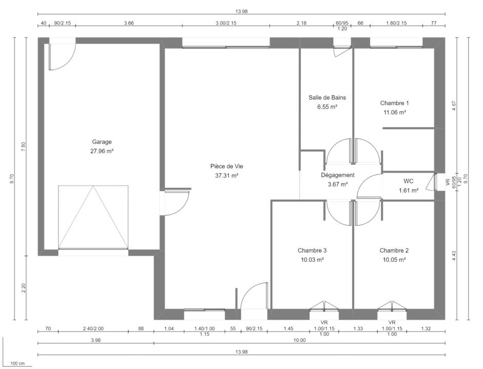 Modèle de Maison DIOPTASE, 4 pièces de 80m² - Plan du RdC