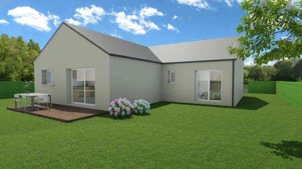Modèle de Maison FLUORITE, 4 pièces de 87m² - Perspective Arrière en Ardoise