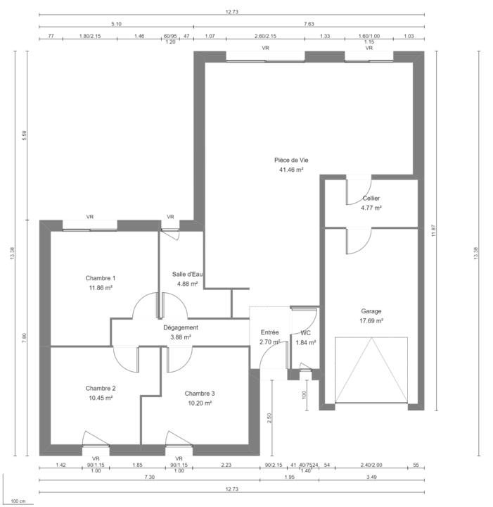 Modèle de Maison FLUORITE, 4 pièces de 87m² - Plan du RdC