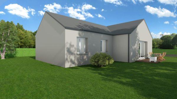 Modèle de Maison GALÈNE, 4 pièces de 89m² - Perspective Arrière en Ardoise