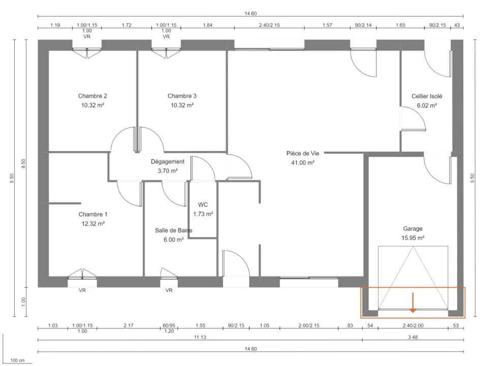 Modèle de Maison GRENAT, 4 pièces de 91m² - Plan du RdC