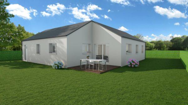 Modèle de Maison JADE, 4 pièces de 92m² - Perspective Arrière en Ardoise