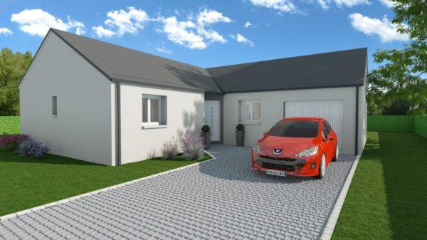 Modèle de Maison JADE, 4 pièces de 92m² - Perspective Avant en Ardoise