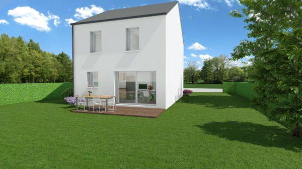 Modèle de Maison LARIMAR, 4 pièces de 93m² - Perspective Arrière en Ardoise