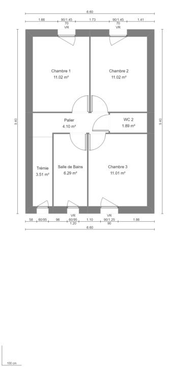 Modèle de Maison LARIMAR, 4 pièces de 93m² - Plan du R+1