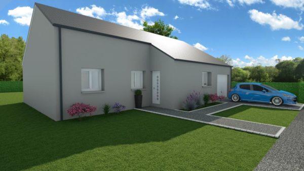 Modèle de Maison MALACHITE, 5 pièces de 95m² - Perspective Avant en Ardoise