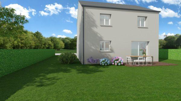 Modèle de Maison ONYX, 5 pièces de 100m² - Perspective Arrière en Ardoise