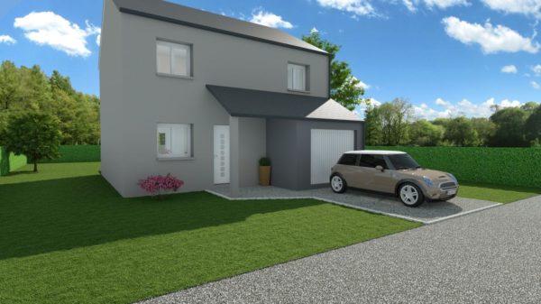 Modèle de Maison ONYX, 5 pièces de 100m² - Perspective Avant en Ardoise