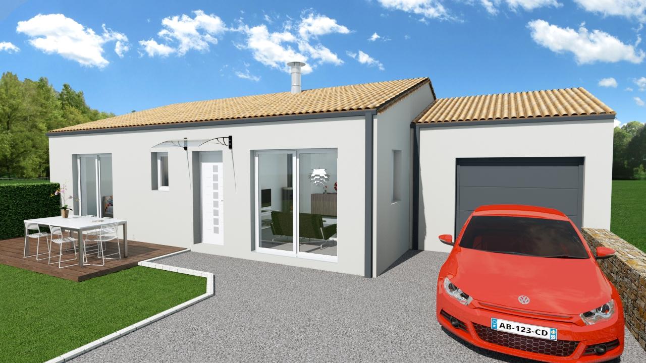 Maison 78m² + Terrain 441m² aux Moutiers-en-Retz - Perspective Avant