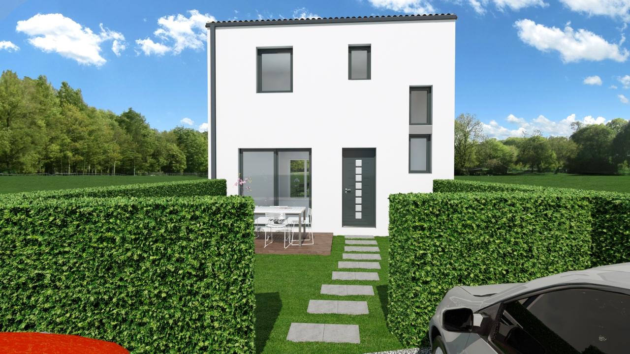 Maison 91m² + Terrain 227m² à Bouguenais - Perspective Avant