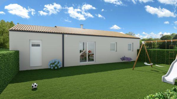 Maison 78m² + Terrain 441m² aux Moutiers-en-Retz - Perspective Arrière
