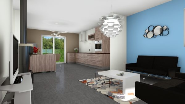 Maison 78m² + Terrain 441m² aux Moutiers-en-Retz - Perspective Intérieure du Séjour