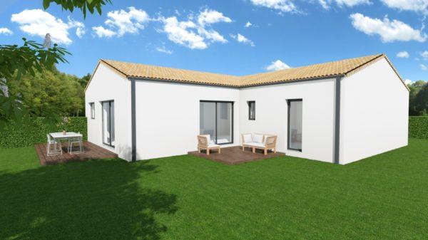Maison 85m² + Terrain 511m² à Haute-Goulaine - Perspective Arrière