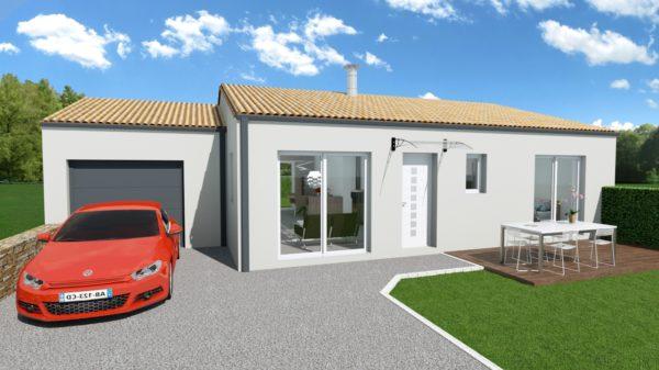 Maison 78m² + Terrain 495m² à Bouguenais - Perspective Avant