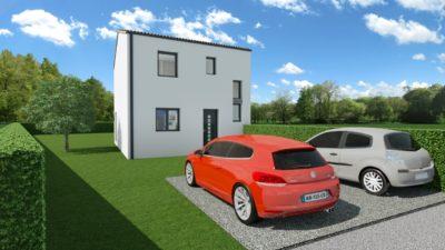 Maison 90m² + Terrain 462m² à Thouaré-sur-Loire - Perspective Avant