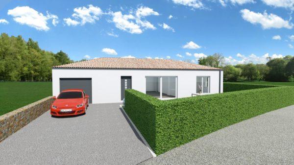 Maison 108m² + Terrain 400m² à Basse-Goulaine - Perspective Avant 2