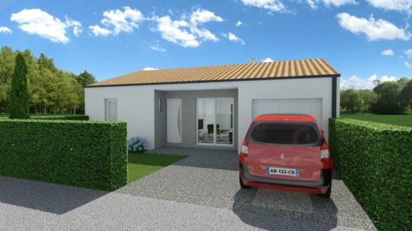 Maison 63m² + Terrain 230m² à Gorges - Perspective Avant