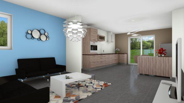 Maison 78m² + Terrain 495m² à Bouguenais - Perspective Intérieure du Séjour