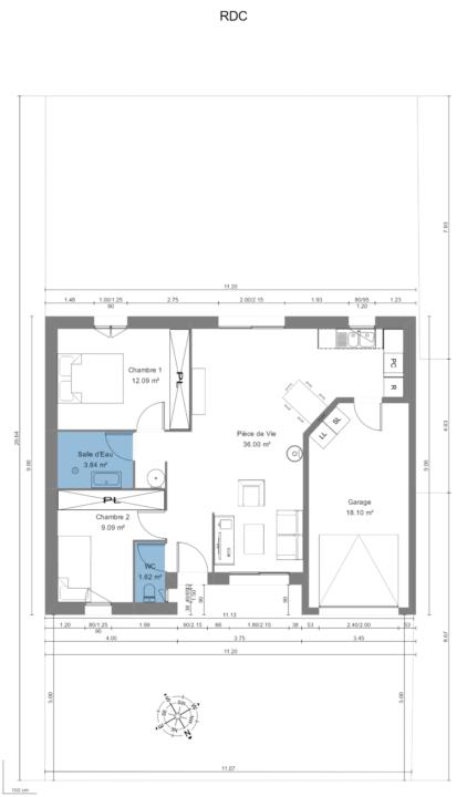 Maison 63m² + Terrain 230m² à Gorges - Vue en Plan