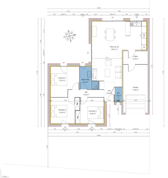 Maison 85m² + Terrain 511m² à Haute-Goulaine - Plan du RdC