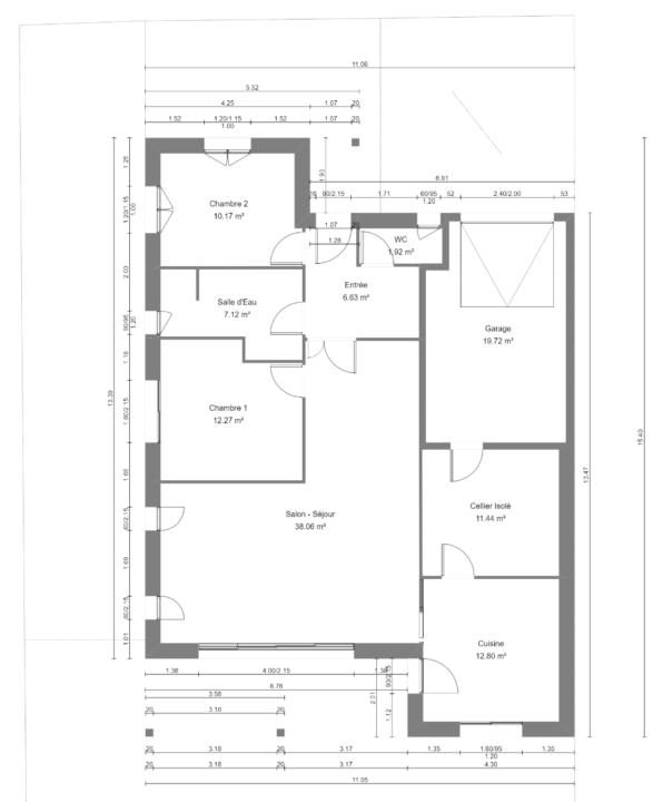 Maison 100m² + Terrain 450m² à la Bernerie-en-Retz - Vue en Plan