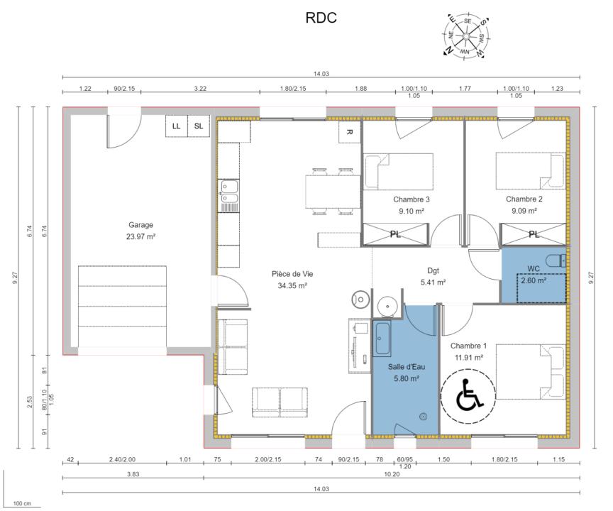 Maison 78m² + Terrain 495m² à Bouguenais - Vue en Plan PLUTON sur Parcelle AV 334