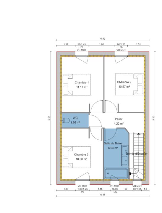 Maison 90m² + Terrain 462m² à Thouaré-sur-Loire - Plan du R+1