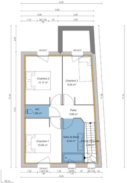 Maison 91m² + Terrain 227m² à Bouguenais - Plan du R+1