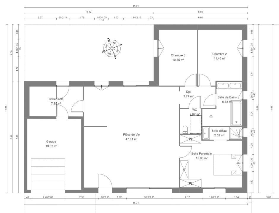Maison 108m² + Terrain 400m² à Basse-Goulaine - Plan du RdC