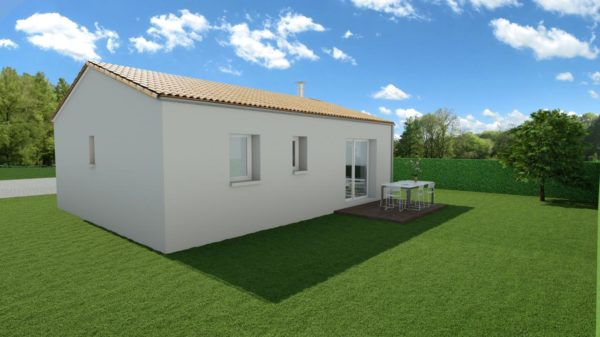 Modèle de Maison AGATE, 3 pièces de 56m² - Perspective Arrière en Tuile
