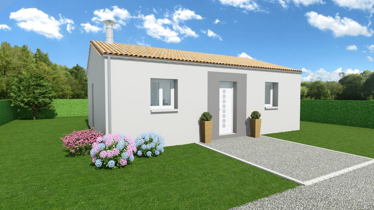 Modèle de Maison AGATE, 3 pièces de 56m² - Perspective Avant en Tuile