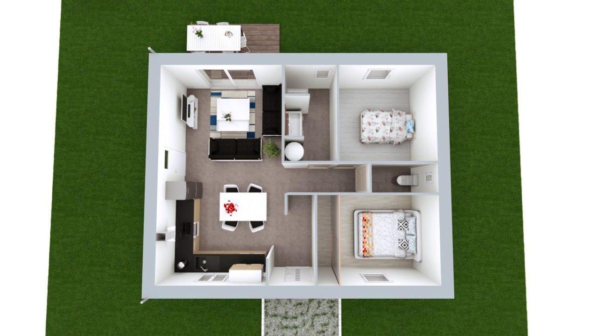 Modèle de Maison AGATE, 3 pièces de 56m² - Proposition d'Aménagement