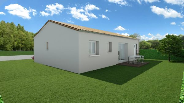 Modèle de Maison AMÉTHYSTE, 3 pièces de 58m² - Perspective Arrière en Tuile